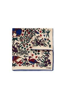 Drake ' SPheasant print silk pocket square