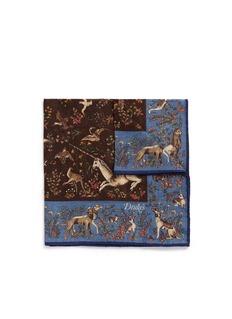 Drake ' SUnicorn print silk pocket square