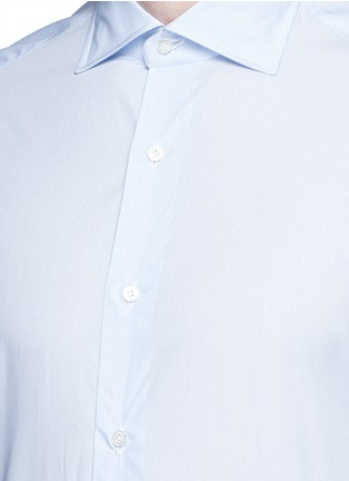 Detail View - Click To Enlarge - ISAIA - 'Milano' dot jacquard micro stripe cotton shirt