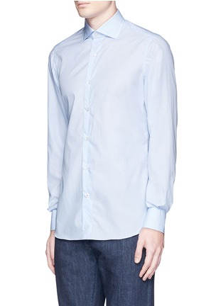 Front View - Click To Enlarge - ISAIA - 'Milano' dot jacquard micro stripe cotton shirt