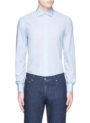 Main View - Click To Enlarge - ISAIA - 'Milano' dot jacquard micro stripe cotton shirt