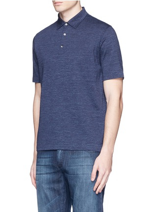 Front View - Click To Enlarge - ISAIA - Cotton herringbone polo shirt