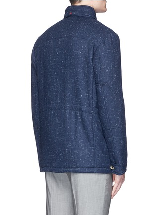 Back View - Click To Enlarge - ISAIA - Padded Donegal tweed travel jacket and neck pillow set