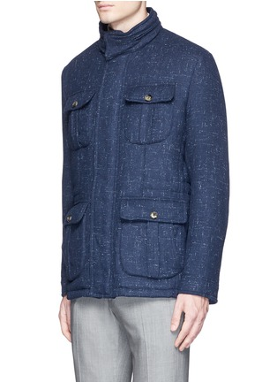 Front View - Click To Enlarge - ISAIA - Padded Donegal tweed travel jacket and neck pillow set