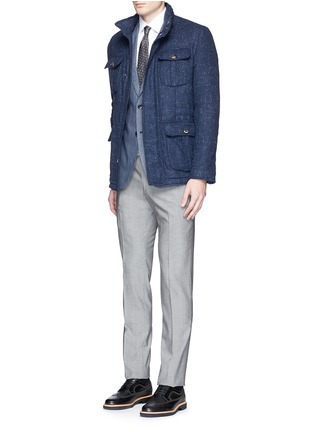 Figure View - Click To Enlarge - ISAIA - Padded Donegal tweed travel jacket and neck pillow set