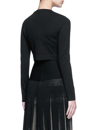 Back View - Click To Enlarge - Alaïa - 'Supreme' cropped wool blend cardigan