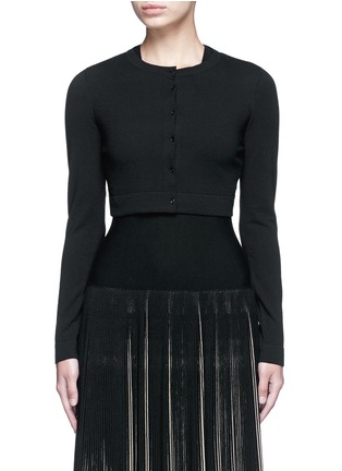 Main View - Click To Enlarge - Alaïa - 'Supreme' cropped wool blend cardigan