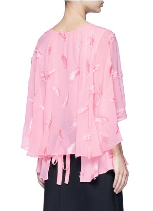 Back View - Click To Enlarge - Emilio Pucci - Feather embroidery batwing cape top