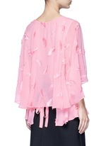 Feather embroidery batwing cape top