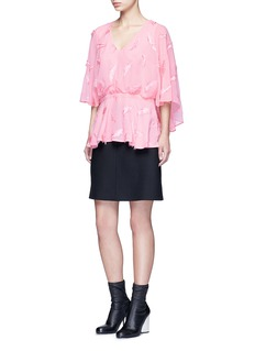 Emilio PucciFeather embroidery batwing cape top