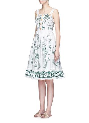 Front View - Click To Enlarge - Dolce & Gabbana - Wicker button Victorian Garden print poplin dress