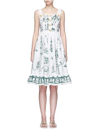 Main View - Click To Enlarge - Dolce & Gabbana - Wicker button Victorian Garden print poplin dress