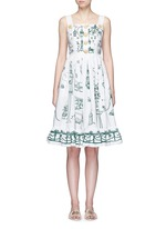 Wicker button Victorian Garden print poplin dress