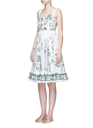 Figure View - Click To Enlarge - Dolce & Gabbana - Wicker button Victorian Garden print poplin dress