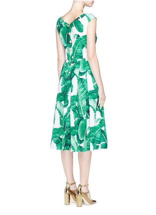 Back View - Click To Enlarge - Dolce & Gabbana - Banana leaf print V-neck poplin dress