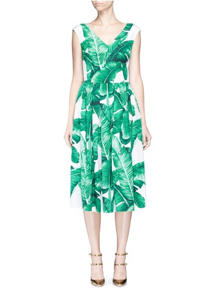 Main View - Click To Enlarge - Dolce & Gabbana - Banana leaf print V-neck poplin dress