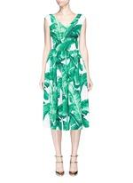 Banana leaf print V-neck poplin dress