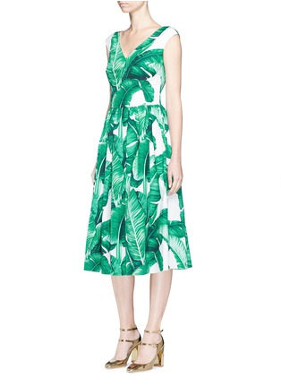 Figure View - Click To Enlarge - Dolce & Gabbana - Banana leaf print V-neck poplin dress