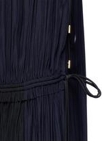 Colourblock drawstring plunge V-neck dress