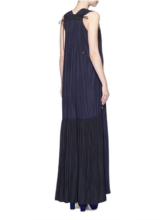 Back View - Click To Enlarge - Lanvin - Colourblock drawstring plunge V-neck dress
