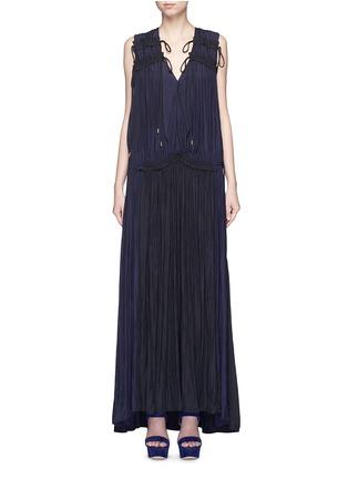 Main View - Click To Enlarge - Lanvin - Colourblock drawstring plunge V-neck dress