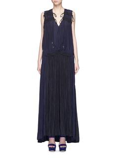 LANVINColourblock drawstring plunge V-neck dress