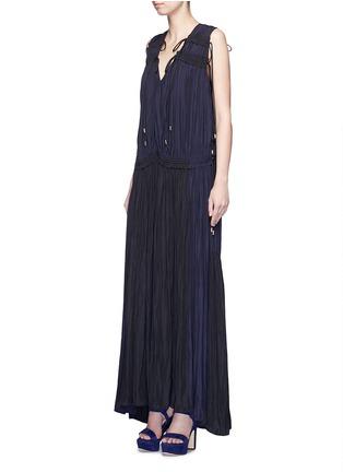 Figure View - Click To Enlarge - Lanvin - Colourblock drawstring plunge V-neck dress