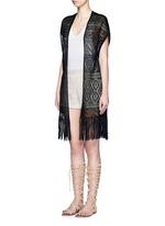Open front tassel eyelet knit vest