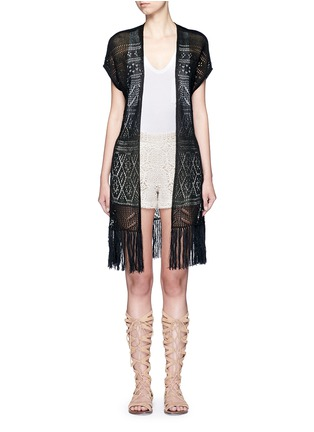Main View - Click To Enlarge - alice + olivia - Open front tassel eyelet knit vest
