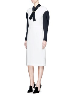 LanvinRibbon neck colourblock silk blend dress