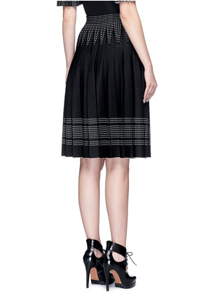 Back View - Click To Enlarge - Alexander McQueen - Geometric jacquard pleated knit skirt