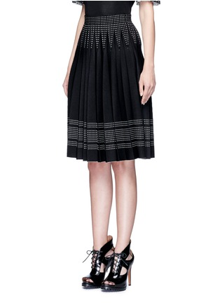 Front View - Click To Enlarge - Alexander McQueen - Geometric jacquard pleated knit skirt