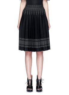 Alexander McQueenGeometric jacquard pleated knit skirt