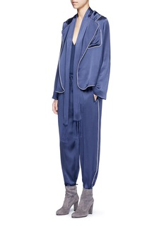 ChloéWaist sash piped satin pyjama top