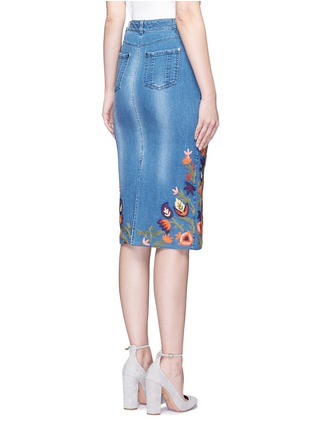 Back View - Click To Enlarge - alice + olivia - 'Samir' floral embroidery denim pencil skirt