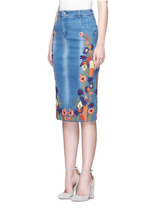 Front View - Click To Enlarge - alice + olivia - 'Samir' floral embroidery denim pencil skirt