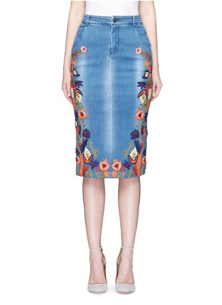 Main View - Click To Enlarge - alice + olivia - 'Samir' floral embroidery denim pencil skirt