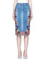 'Samir' floral embroidery denim pencil skirt