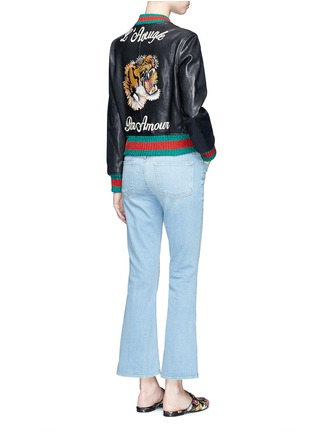 Figure View - Click To Enlarge - Gucci - Tiger embroidery leather bomber jacket