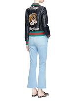 Tiger embroidery leather bomber jacket