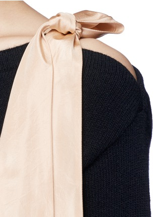 Detail View - Click To Enlarge - Valentino - Contrast silk sash cashmere blend sweater