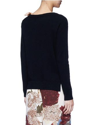 Back View - Click To Enlarge - Valentino - Contrast silk sash cashmere blend sweater