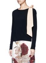 Contrast silk sash cashmere blend sweater