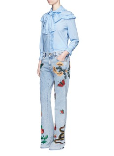 GucciTropical embroidery flared cotton jeans