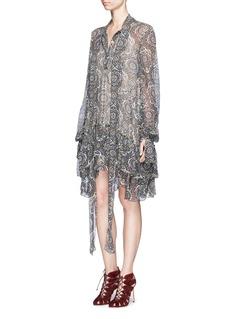 ChloéOriental print tiered silk crépon dress