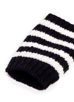 Stripe wool knit fingerless gloves