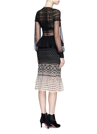Back View - Click To Enlarge - Alexander McQueen - Macramé stitch tulle peplum dress