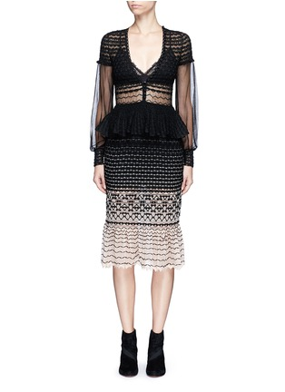 Main View - Click To Enlarge - Alexander McQueen - Macramé stitch tulle peplum dress
