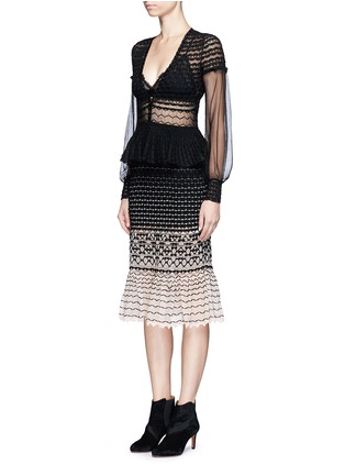 Figure View - Click To Enlarge - Alexander McQueen - Macramé stitch tulle peplum dress