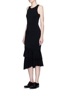 THEORY'Nilimary' tiered fringe hem fishtail dress